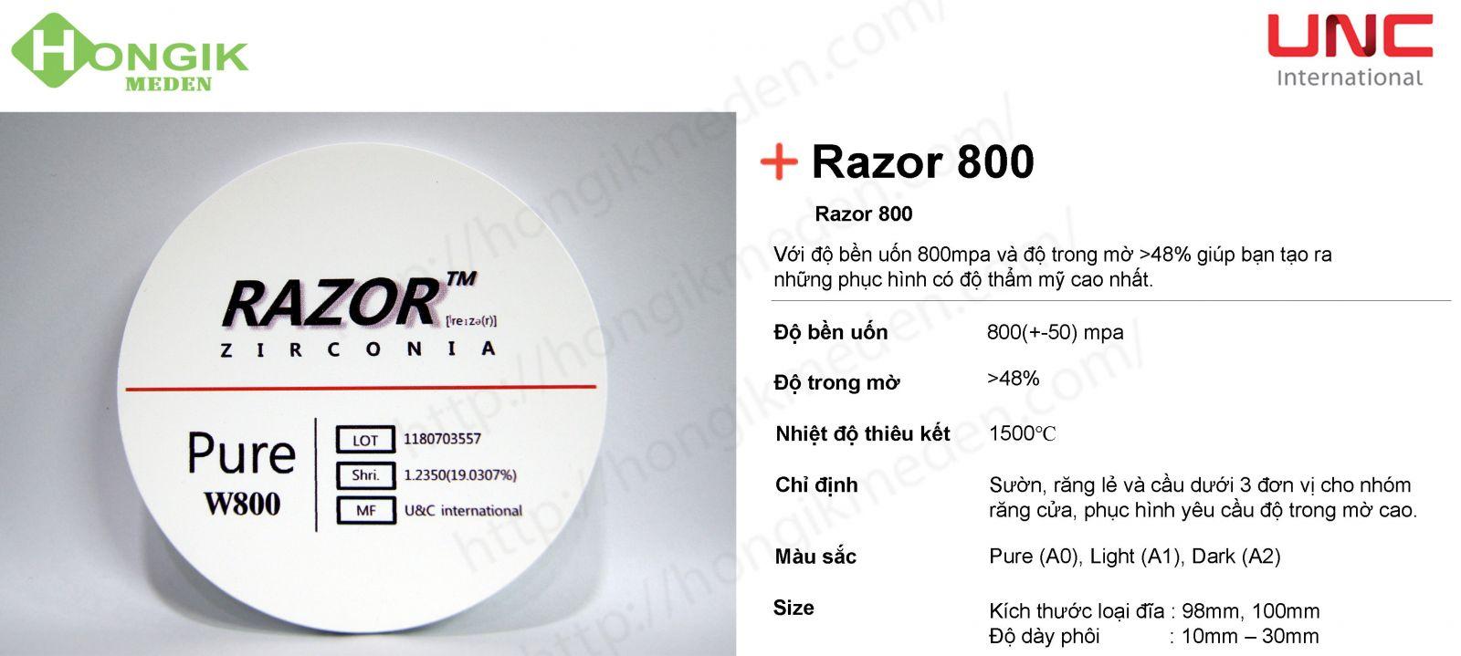 phôi trong Razor 800